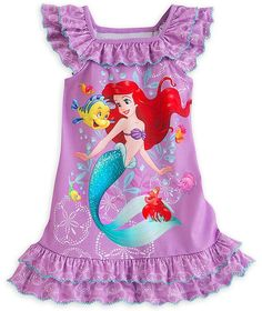 194266c90e Disney Store Ariel Little Girls  Purple Ruffles Nightgown Size 2 XXS Disney  Store