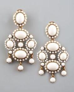 Oscar de la Renta White Cabochon Drop Clip Earrings.jpg