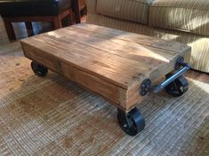 Read more about Pallet Furniture Coffee Table With Casters, Cart Coffee Table, Rustic Coffee Tables, Coffee Table Design, Diy Coffee Table Plans, Coffee Table Pictures, Coffee Table Inspiration, Decorating Coffee Tables, Diy Pallet Projects