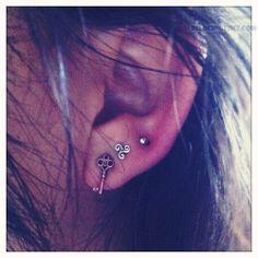 Ear Lobe Piercing With key Stud
