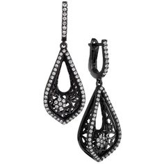 Preowned Diamond Blackened Gold Drop Earrings ($3,100) ❤ liked on Polyvore featuring jewelry, earrings, accessories, multiple, 14k yellow gold earrings, diamond earrings, drop earrings, gold earrings and 14k earrings