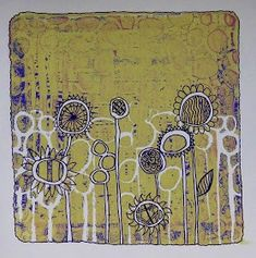 Sarah's Craft Shed: Buff Titanium Gel Plate Lift Background With Doodles!