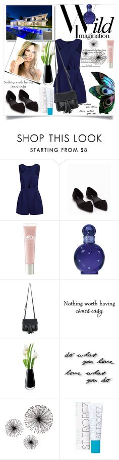 """""""Navy Blue Jumpsuit"""" by fakeconnie ❤ liked on Polyvore featuring Britney Spears, Nly Shoes, Origins, Chicnova Fashion, LSA International, Umbra and St. Tropez"""