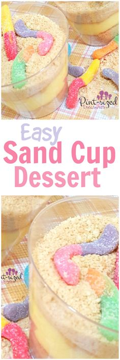 Oh. My. Grief. This easy sand cup dessert is PERFECT for warm weather     treats! Kids lovemaking this simple recipe that's ready in minutes! Creamy layers of pudding and crushed cookies make this the perfect dessert for beach lovers! These easy dessert cups are always a big hit at kid parties too! Dig into this simple dessert today! Grab the recipe!