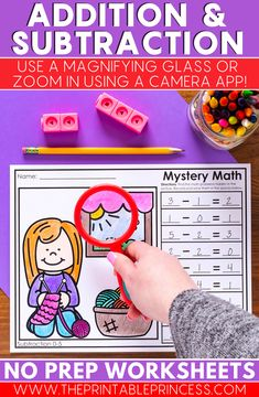 Mystery Math includes 40 no prep worksheets to help your students practice addition and subtraction skills. There are 5 pages of each to practice addition to five and subtraction to five. There are 15 pages of each to practice addition to ten and subtraction to ten.