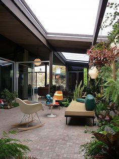 Eichler Atrium love the brick flooring and open sky plan