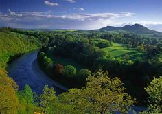 Scotland - Eildon Hills over the River Tweed and the site of Old Melrose