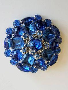 Gorgeous blue multi stone brooch
