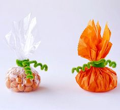 Fast Favors Assemble these party favors in a snap. Cut squares of plastic wrap or tissue paper and pour a scoop of candy in the middle. Gather the material around the candy like a bundle. Wrap a green chenille stem around the middle to secure. For a finishing touch, wrap each end of the stem around a pencil to form a curly vine.