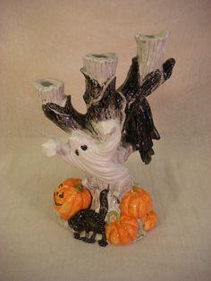 fitz floyd halloween candelabra 3 branch 1988 harvest pumpkin ebay