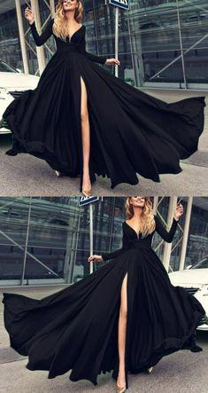 Simple Prom Dress, Cute Prom Dresses, Black Wedding Dresses, Dress Prom, Dresses Dresses, Party Dresses, Prom Dresses Black Long, Formal Dresses, Sweetheart Prom Dress