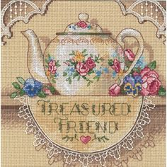 DIMENSIONS-Gold Collection Petite. Treasured Friend Teapot Counted Cross Stitch Kit. Conversation and a hot cup of tea--what could be more comforting? Subdued in its coloration the design is stitched