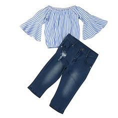 "DaySeventh Toddler Girls Outfit Clothes Long Sleeve Off Shoulder Tops+Jeans Pants Set (4 Years, Blue). ◆Style: Cute Elegant. ◆Occasion:Daily Outdoor School. ◆Pattern Type:Striped. ◆Feature: Off Shoulder(As the picture show). ◆DaySeventh Autumn New Arrival(Note:Please make sure the seller you choose is ""DaySeventh"" before you buy. If not, we are not responsiable for anything about this product)."