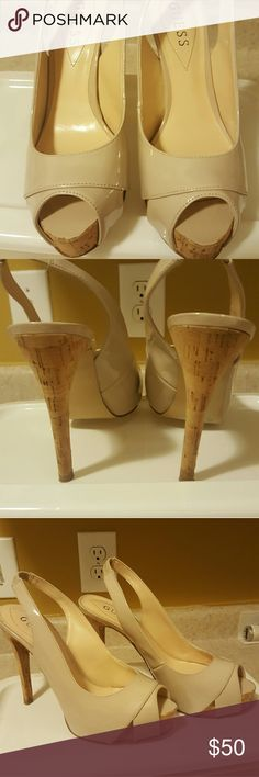 Nude baddies, wear them to work,church or the club Guess nude peep toe Guess Shoes Heels