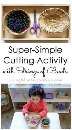 Inexpensive, super-simple, and fun Montessori-inspired activity to teach scissor skills to 2 year olds through preschoolers. Post includes embedded 21-second YouTube video, resources, and Montessori Monday link collection.