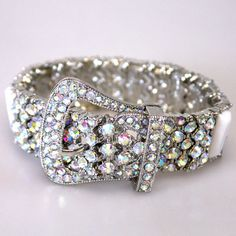 White And AB Rhinestone Cowgirl Buckle Bracelet