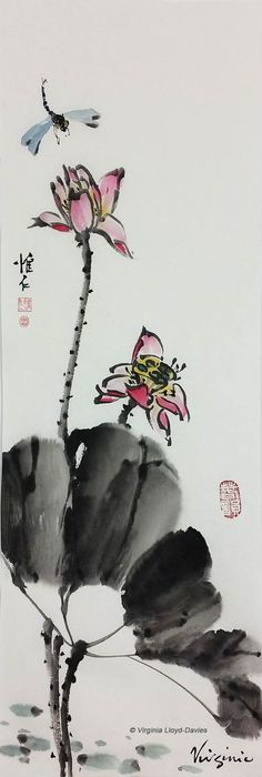 This Chinese brush painting of red lotus, black leaf, dragonfly would look gorgeous in the home #homedecor #homedecorideas #chineseartwork #orientalstyle