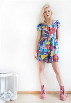 Vintage Summer Festival Geometric Floral Abstract #Playsuit  #style #fashion #vintage #clothes #clothing #vintageclothes