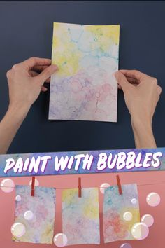 Painting with bubbles is a great way to let your little ones explore a new art technique. They can combine colors and create beautiful designs with items you already have at home! Summer Crafts For Toddlers, Toddler Crafts, Preschool Activities, Diy For Kids, Bubble Painting, Bubble Art, Painting For Kids, Children Painting, Science Experiments For Preschoolers