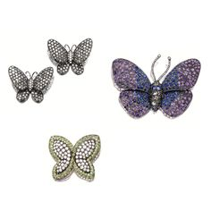 FOUR GEM-SET AND DIAMOND 'BUTTERFLY' BROOCHES | lot | Sotheby's