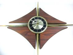 starburst clock,sunburst, mid century clock,Verichron, gold, wood clock, wall clock,black face,