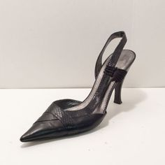Nine West Black Leather Pointed Toe Snake Embossed Slingback Heel Womens 6.5M in Clothing, Shoes & Accessories | eBay
