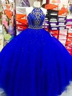 Royal Blue Halter Tulle Quinceanera Dresses, Elegant Ball Gown Prom Dresses, Sweet 16 Prom Dress by Sweet 16 Dresses Blue, Blue And Gold Dress, Sweet Sixteen Dresses, Royal Blue Prom Dresses, Sweet Dress, Quincenera Dresses Blue, White Quince Dresses, Blue Evening Dresses, Blue Gown