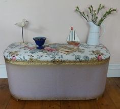 SUBLIME VINTAGE SHABBY CHIC ROSES COVERED PADDED LLOYD LOOM OTTOMAN/CHEST/TRUNK | eBay