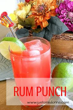 Easy rum punch recipe| A great cocktail to serve for a crowd and parties of all kinds| Summer Rum Punch