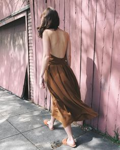 Halter dress in deep caramel available now! #ORLosAngeles #Quality #Basics #MadeInLa