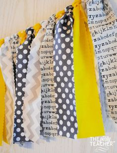 *** As seen on Hostess with the Mostess *** Yellow and gray fabric tie garland. The perfect touch for your Mystery Party, the garland's colors are inspired by the classic yellow spine of Nancy Drew bo