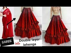 Diy: how to make double layer lehenga लेहंगा in 10 minutes Kurti Designs Party Wear, Lehenga Designs, Party Dress Tumblr, Circle Skirt Tutorial, Blouse Tutorial, Diy Summer Clothes, Diy Clothes, Fashion Clothes, Stitching Dresses