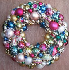 Vintage Christmas Ornament Wreath Perfect for Every day via Etsy.