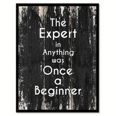 The expert in anything was once a beginner Motivational Quote Saying Canvas Print with Picture Frame Home Decor Wall Art