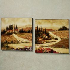 Tuscan Hillside Wall Art Set  Set of Two