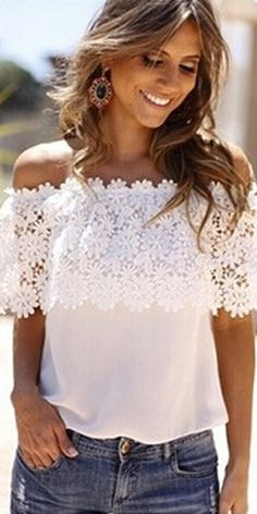 Sexy Slash Neck Lace Spliced Chiffon Tops