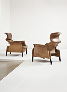 Wood Leather Chairs by Achille Castiglioni