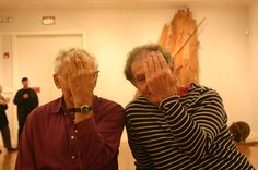Provincetown painters Arthur Cohen (left) and Robert Henry at Paul Bowen's opening at Cape Cod Museum of Fine Arts (January 2005).
