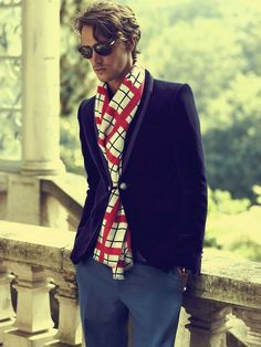 Men can spice up their look by adding a bright scarf too!