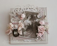 Shabby chic card with Pion design