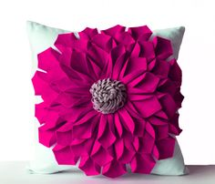 Felt Flower Pillow Cover Fuchsia Gray White Pillow by AmoreBeaute