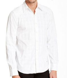 Affliction Mens Out of Sight White Button Long Sleeve Shirt SLIM 110WV175  M, L #Affliction #ButtonFront