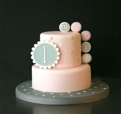 Love how simple it is! - For all your cake decorating… Girl Cakes, Baby Cakes, Sweet Cakes, Cupcake Cakes, Rodjendanske Torte, Baby Birthday Cakes, 1st Birthday Cake For Girls, Pink Birthday, Just Cakes