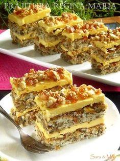 Prajitura Regina Maria is part of Romanian desserts Prajitura Regina Maria - Dessert Cake Recipes, Sweets Cake, Sweets Recipes, Baking Recipes, Cookie Recipes, Romanian Desserts, Romanian Food, Good Food, Yummy Food