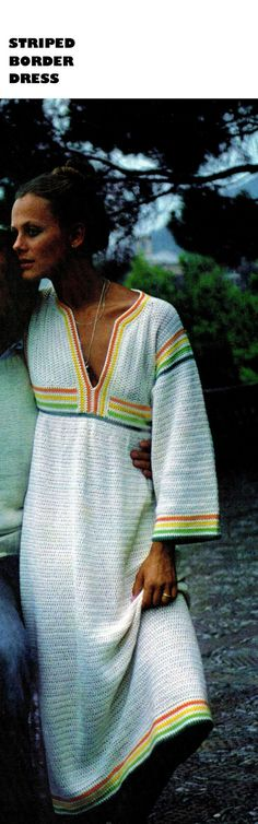"Vintage Crochet  Hippie 70s ""STRIPED BORDER"" Dress PDF Pattern - Summer / Beach Wear"
