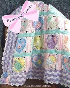 Hearts and Flowers Baby Afghan or Blanket Crochet by creeksendinc, $4.99
