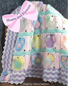 Hearts And Flowers Baby Blanket Or Blanket - Purchased Crochet Pattern By creeksendinc In Hale, Michigan - (etsy)