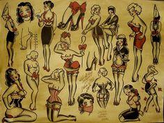 Traditional Girl Tattoo Flash | KYSA #ink #design #tattoo