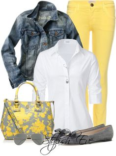 """""""NADA"""" by stylisheve on Polyvore...minus the flats for me & replaced with flip flops. Such a cute outfit."""
