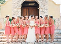 Coral clad bridal party: http://www.stylemepretty.com/little-black-book-blog/2014/12/01/southern-chic-camp-lucy-wedding/ | Photography: Becca Lea - http://beccalea.com/